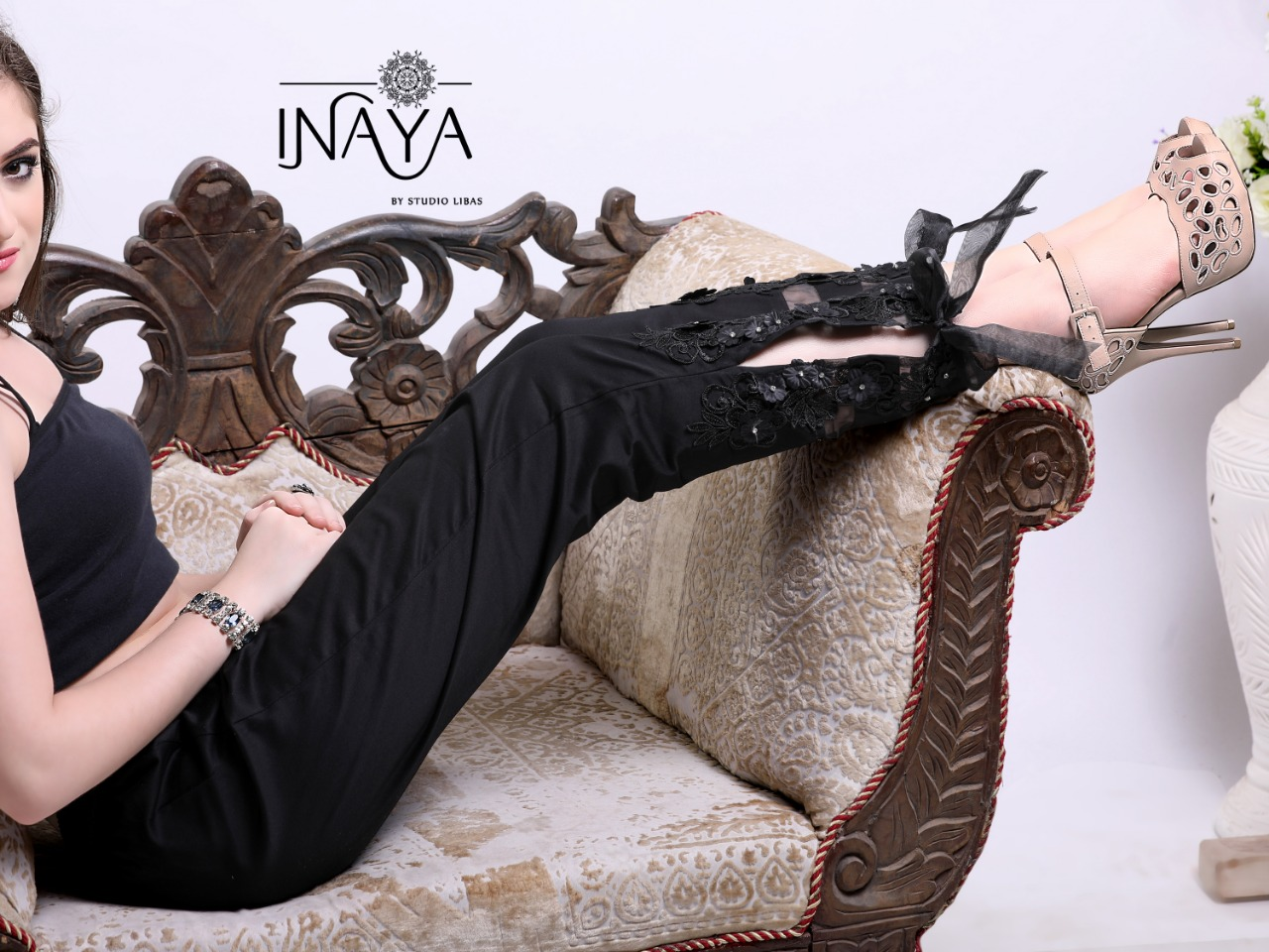 Inaya By Studio Libas Cigarette Pant Black