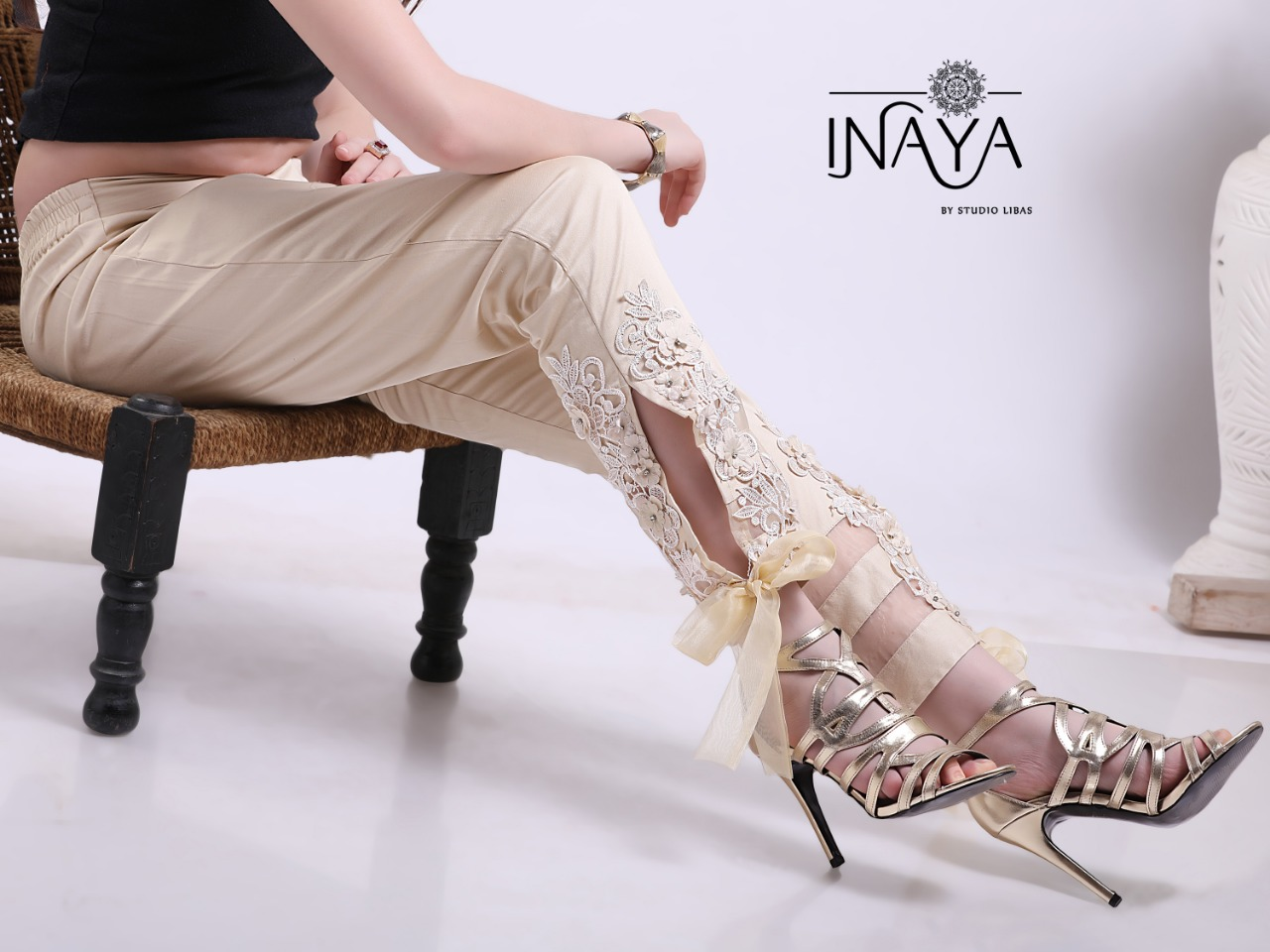 Inaya By Studio Libas Cigarette Pant Cream