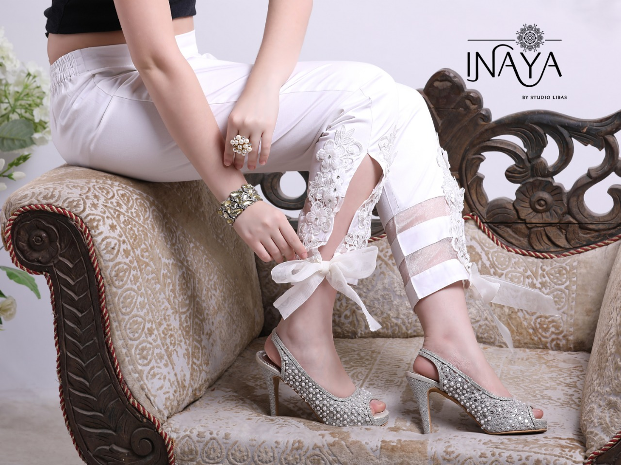 Inaya By Studio Libas Cigarette Pant White
