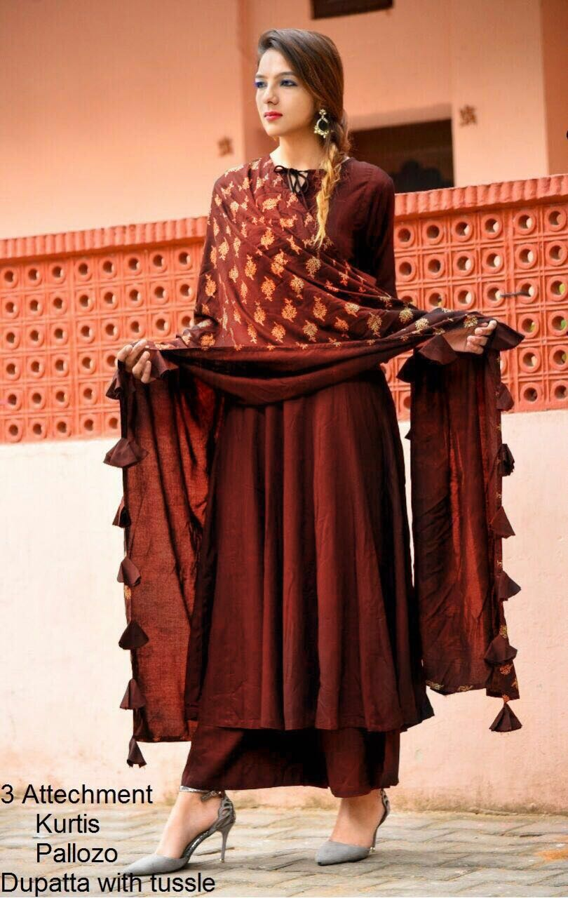New Style Festive Wear Suits Brown