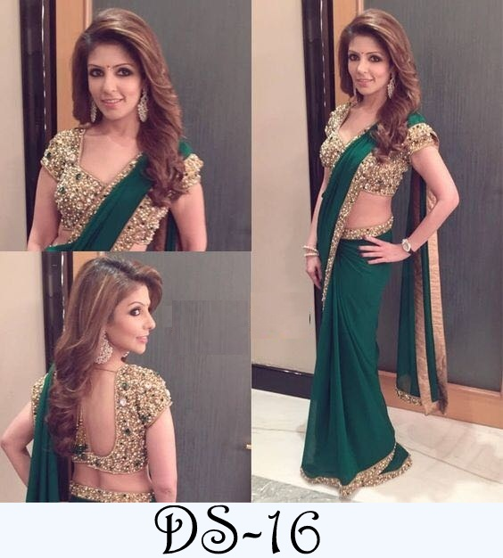 LATEST SAREE COLLECTION & COLORS DARK GREEN