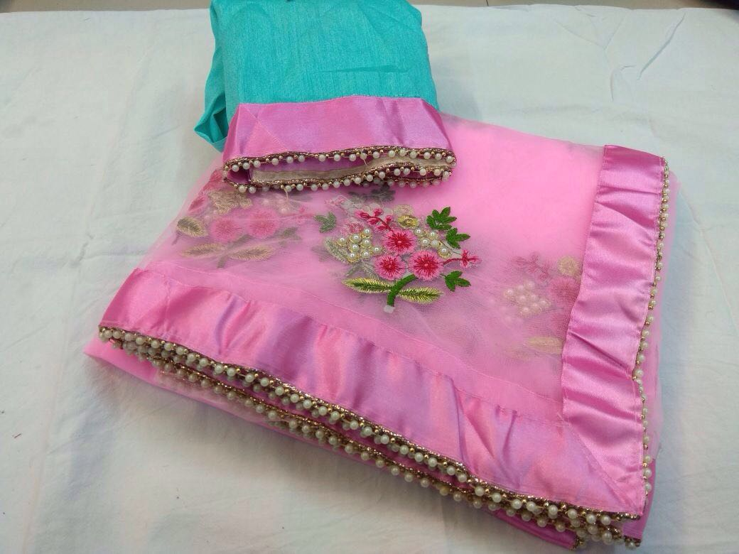 Designer Party Wear Premium Quality Embroiderd Saree BABY PINK