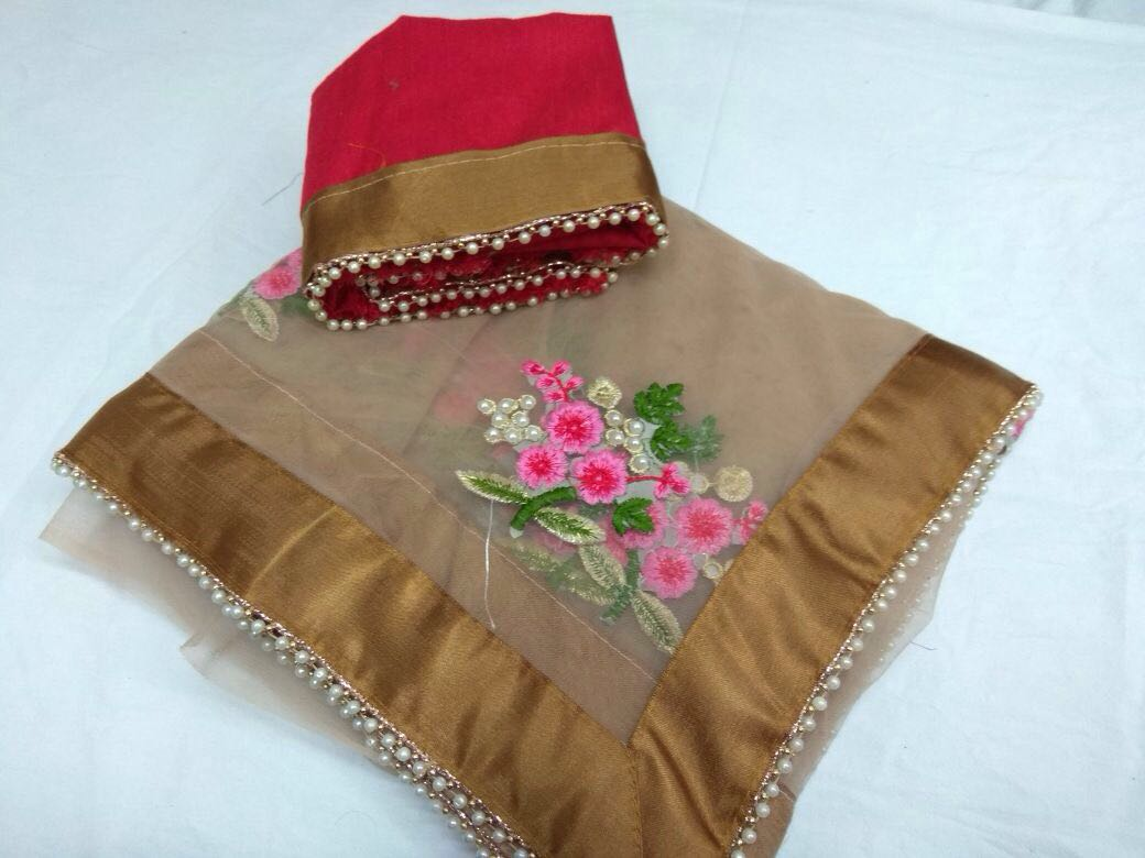 Designer Party Wear Premium Quality Embroiderd Saree BROWN