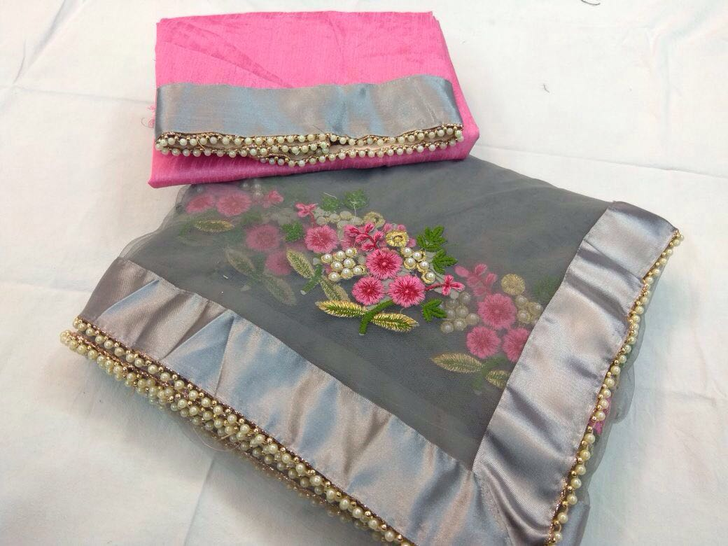 Designer Party Wear Premium Quality Embroiderd Saree GREY