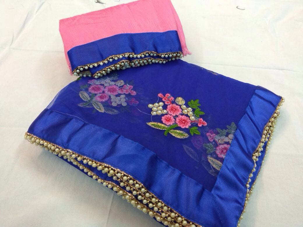 Designer Party Wear Premium Quality Embroiderd Saree ROYAL BLUE