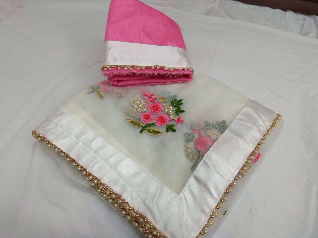 Designer Party Wear Premium Quality Embroiderd Saree WHITE