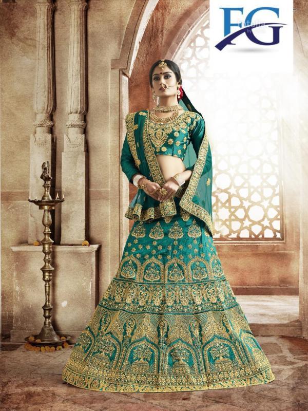FG Tapheta Silk Fabric Green & Blue Lehenga Choli