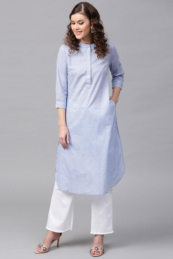 1002 Blue Cotton Festive Casual Kurti