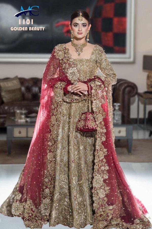 MC 1101 Golden Beauty Wedding Bridal Lehenga