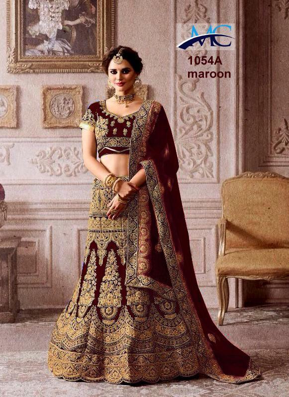 MC 1054 Velvet Wedding Wear Lehenga Choli