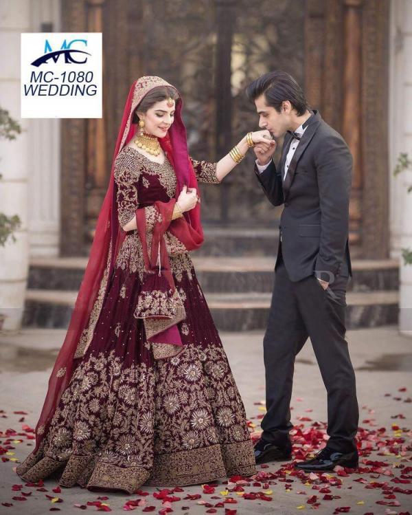 MC 1080 Maroon Velvet Designer Bridal Lehenga Choli