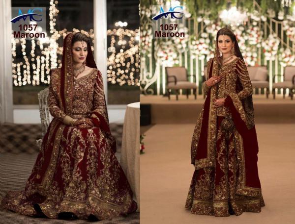 MC 1057 Maroon Designer Wedding Lehenga Choli