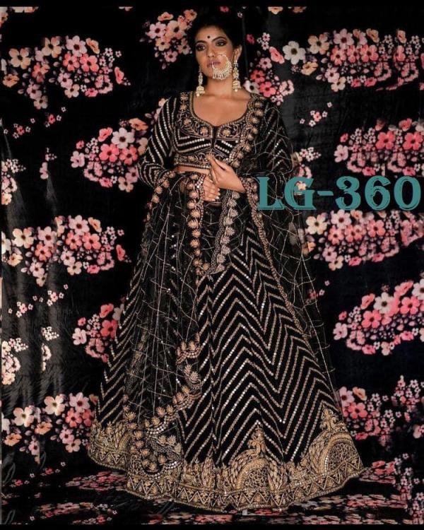 Bollywood Designer Lehenga Choli LG-360 Black Velvet