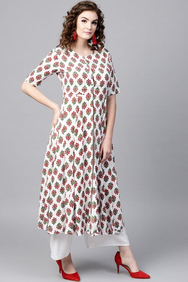 1007 Red White Cotton Poly Printed Kurti