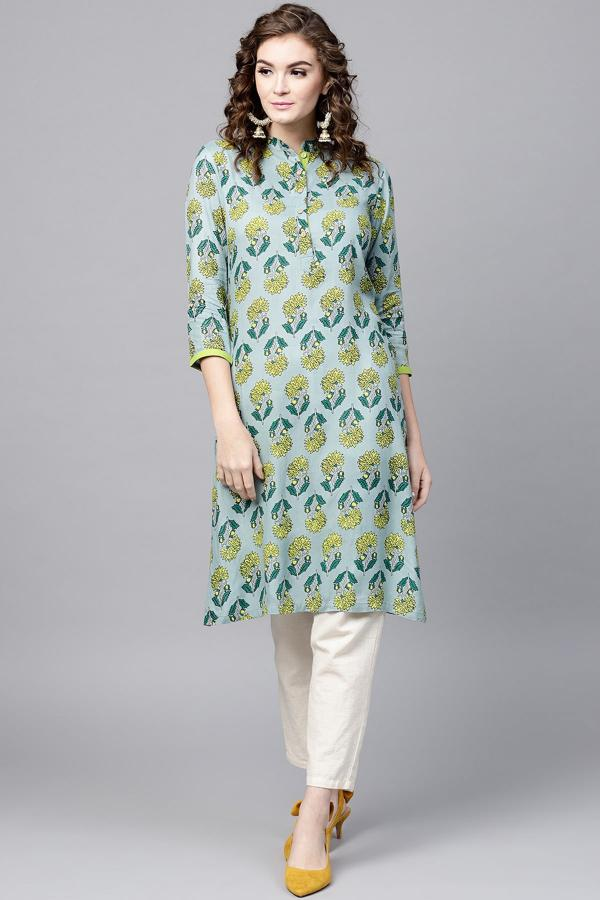 1006 Green Cotton Rayon Printed Kurti