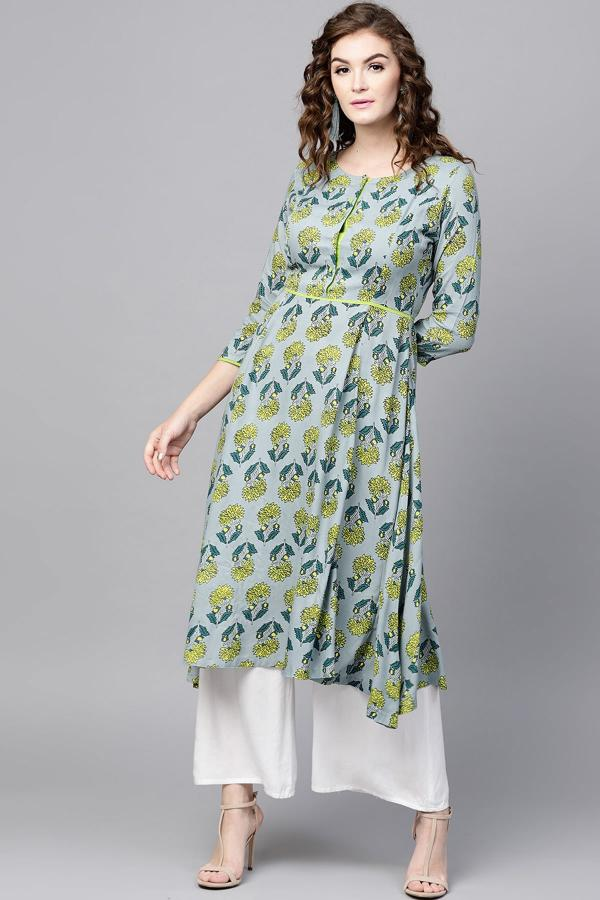 1005 Green Cotton Poly Printed Casual Kurti