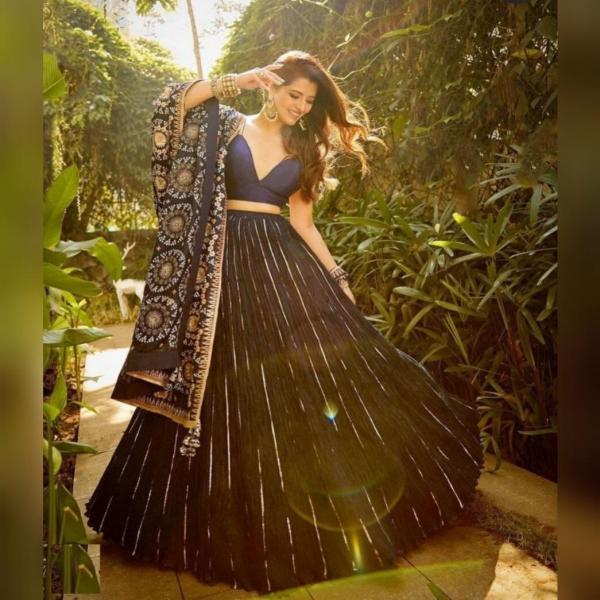 Bollywood Blue Oxford Designer Lehenga Choli