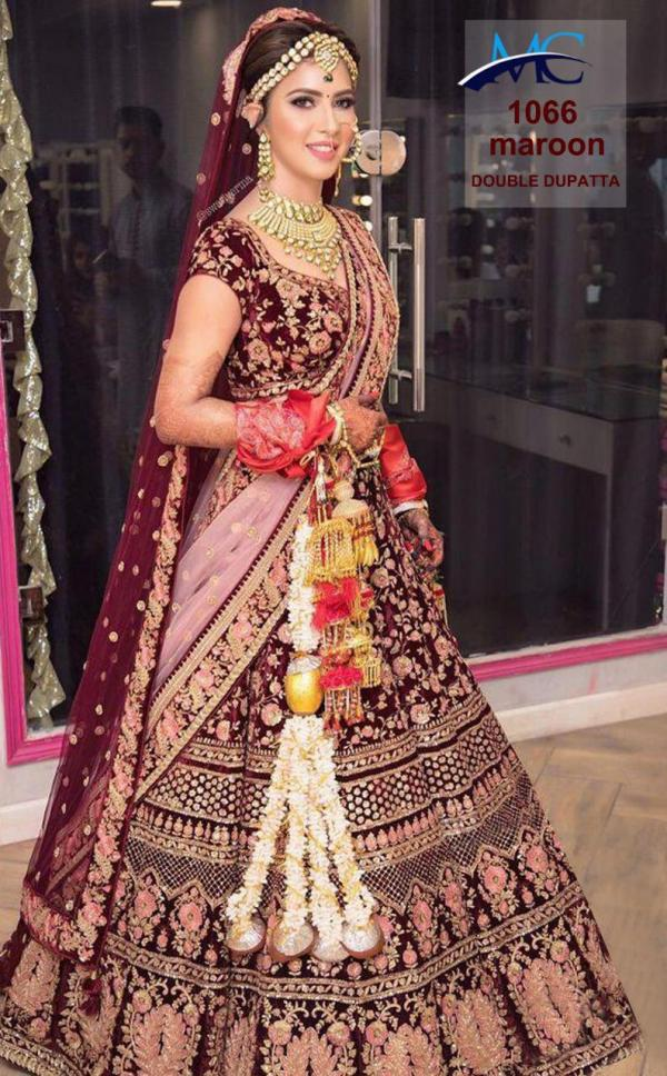 MC 1066 Maroon Velvet Wedding Lehenga Choli