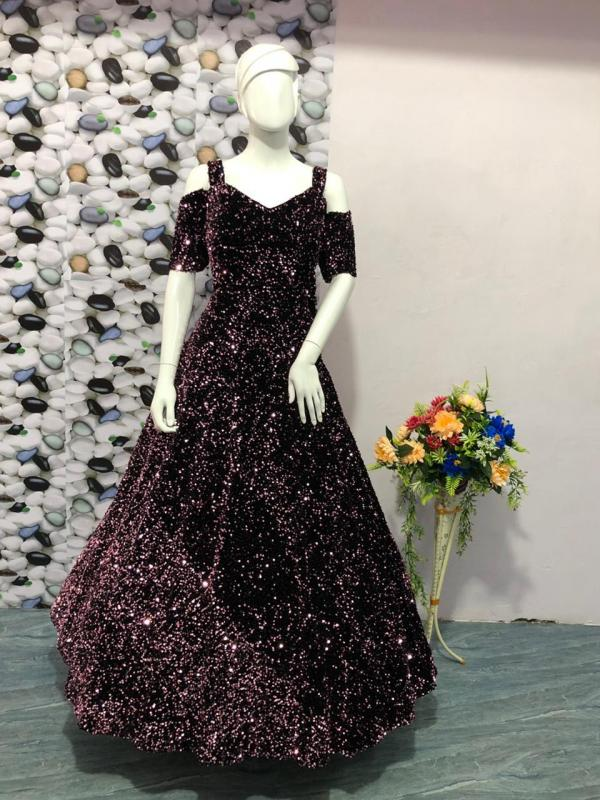 Sequins Party Wear Gown 7050