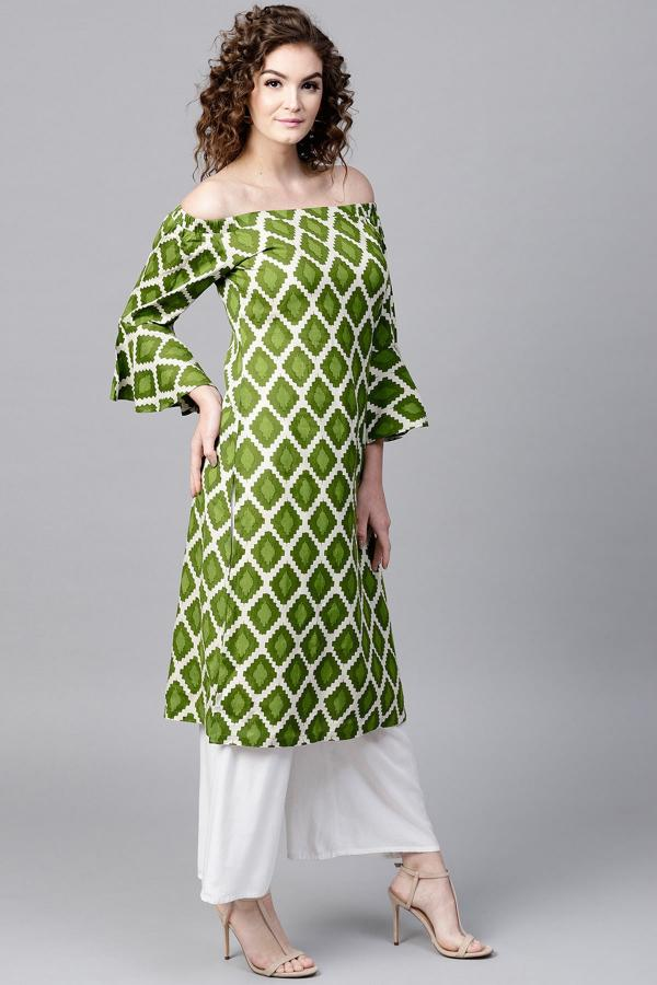 1001 Green Designer Cotton Ploy Printed Kurti