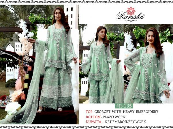 Ramsha 135 Green Plazzo Salwar Suit