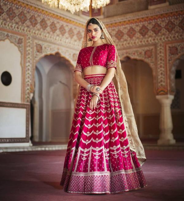 AF 2111 Designer Embroidered Heavy Pink Lehenga Choli