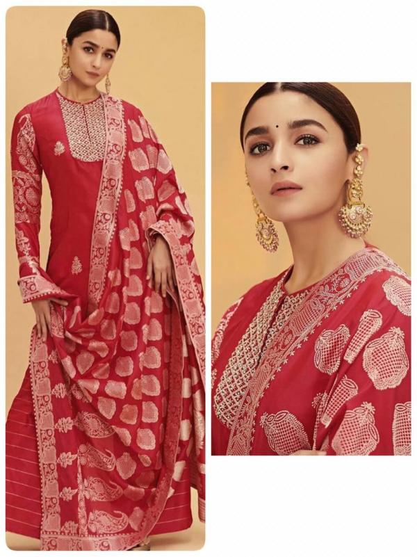 FG Alia Bhatt Red Georgette Embroidered Straight Suit