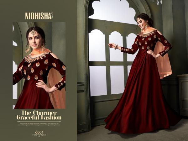 Nidhisha 6001 Colors Designer Silk Satin Gown