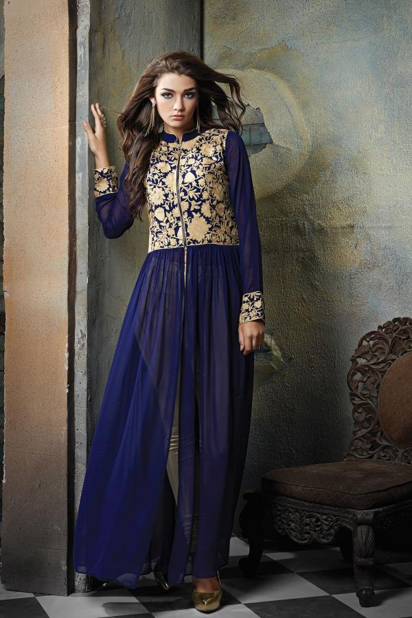 AF 08 Designer Long Blue Plazzo Style Suit