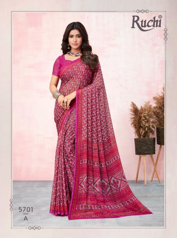 Ruchi Saree Kesariya Chiffon 57 Edition 5701-5705 Colors