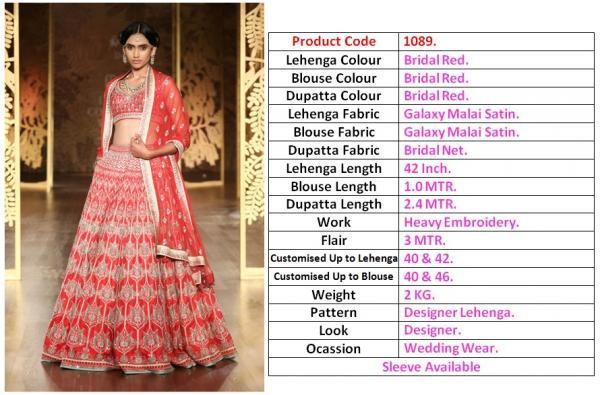 Designer Heavy Bridal Lehenga 1089