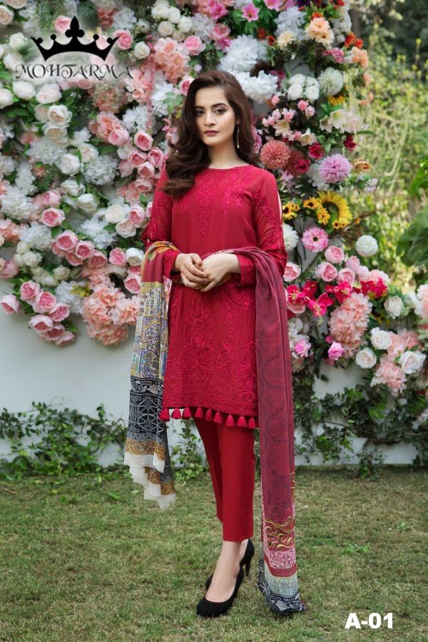 Mohatarma Fabrics Intizaar AA01 AA05 Series