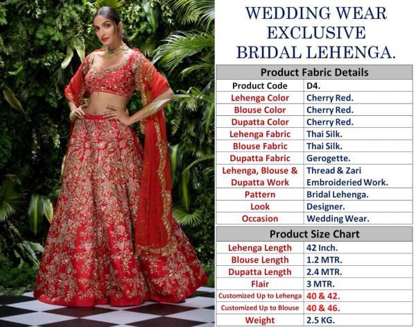 HEAVY EXCLUSIVE WOMEN WEAR DESIGNER BRIDAL LEHENGA D4
