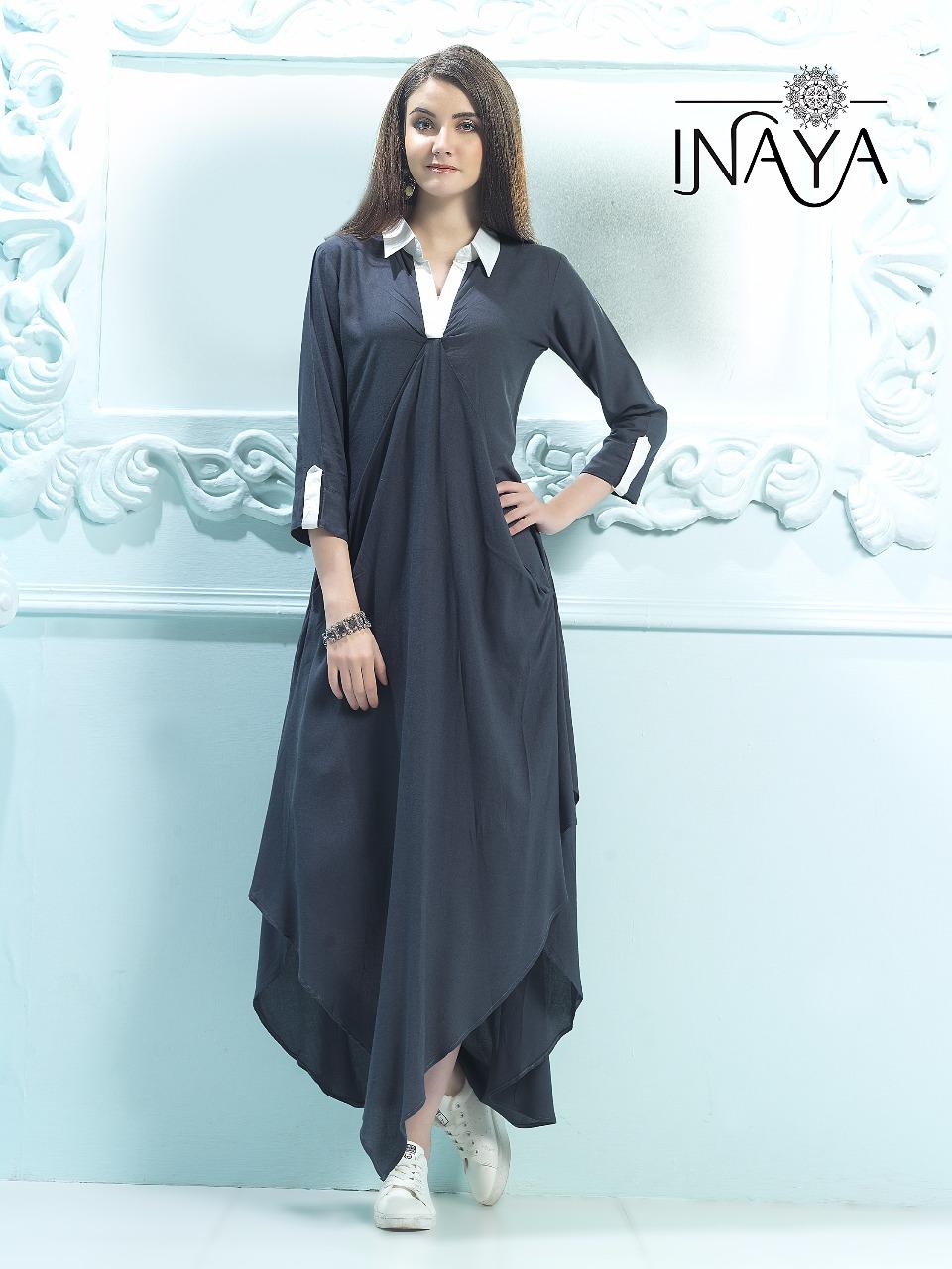 Inaya By Studio Libas White Collar K-23 English Blue