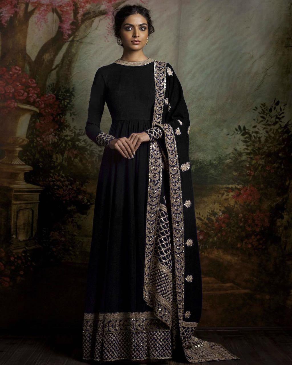Designer Traditional Anarkali Suits 111 Black