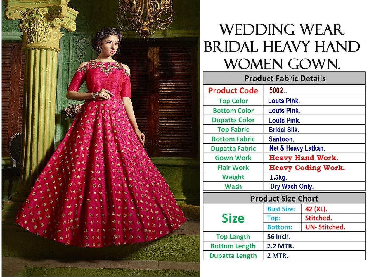Wedding Wear Bridal Heavy Hand Women Gown 5002